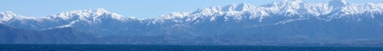 View of mountain range near the sea, South Island, New Zealand