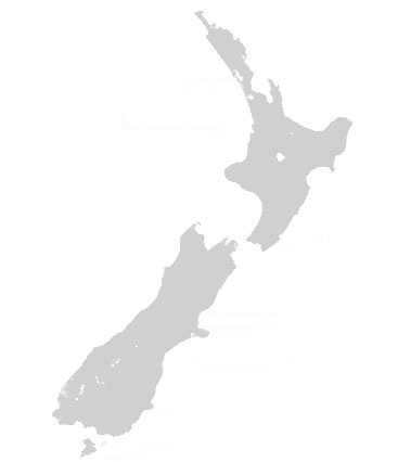 A simple grey map of New Zealand on a white background