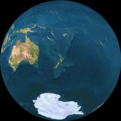 A NASA photo of the earth from space, centred on New Zealand, and showing our physical isolation from major land masses other than Antarctica and Australia.