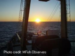 Sunrise from a fishing vessel